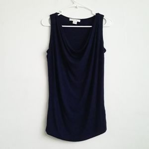 🌻  August Silk Navy Blue Ruched Blouse